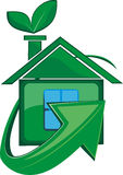 Ecologically clean house. Icon of house with a petal in a green color Royalty Free Stock Image