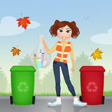 Ecologically responsible garbage collecting Stock Images