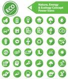 Ecologie, Aard & Energiepictogrammen, Groene versie Stock Afbeelding