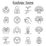Ecologie, Behoud, Eco vriendschappelijk, sparen het wereldpictogram in dunne lijnstijl die wordt geplaatst stock illustratie