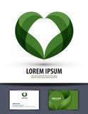 ecologie De bladeren worden hart-gevormd Embleem, pictogram, Royalty-vrije Stock Fotografie