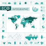 Ecologie, de grafiekinzameling van recyclingsinfo Stock Fotografie