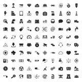 Ecologie 100 die pictogrammen voor Web worden geplaatst Stock Foto