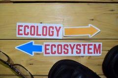 Ecologie of Ecosysteem tegenover richtingstekens met laarzen en oogglazen op houten stock fotografie