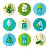 Ecologie en afval vlakke geplaatste pictogrammen Stock Foto's