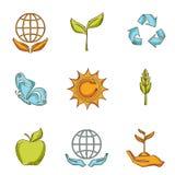 Ecologie en afvalpictogrammen geplaatst schets vector illustratie