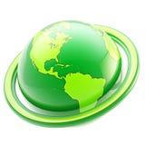 Ecologie en het ecoleven: groen geïsoleerdt planeetembleem royalty-vrije illustratie