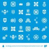 Ecologie en milieubehouds geplaatste vectorpictogrammen, ongebruikelijk Stock Foto's