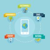 Ecologie en mobiele telefoon app vlak ontwerpconcept Stock Fotografie