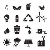 Ecologie, energie, geplaatste milieupictogrammen stock illustratie