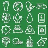 Ecologie groen pictogram Stock Afbeeldingen
