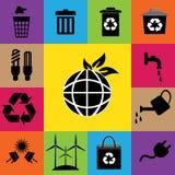 Ecologie kleurrijke pictogrammen Royalty-vrije Stock Foto