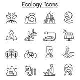 Ecologie & Milieupictogram dat in dunne lijnstijl wordt geplaatst stock illustratie