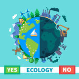 ecologie Milieuvriendelijke transportmiddelen en vernieuwbare energie vector illustratie