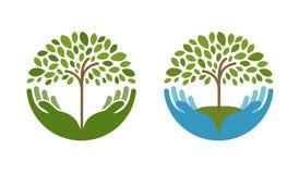 Ecologie, natuurlijk milieu vectorembleem Boom, het tuinieren of de landbouwpictogrammen stock illustratie