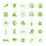 ecologie Vector groene geplaatste ecopictogrammen Royalty-vrije Stock Afbeelding