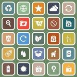 Ecologie vlakke pictogrammen op groene achtergrond stock illustratie