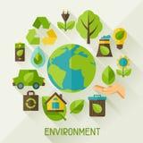 Ecologieachtergrond met milieupictogrammen Royalty-vrije Stock Afbeeldingen