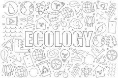 Ecologieachtergrond van lijnpictogram lineair vectorpatroon royalty-vrije stock foto
