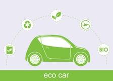 Ecologieauto en bijbehorende ecopictogrammen Royalty-vrije Stock Foto