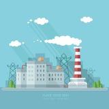 Ecologieconcept - de industriefabriek Vlakke stijl vectorillustrati Royalty-vrije Stock Fotografie