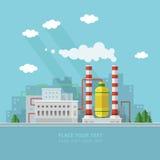 Ecologieconcept - de industriefabriek Vlakke stijl vectorillustrati Stock Foto's