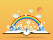Ecologieconcept, document bloemen die van een open boek groeien stock illustratie