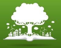 Ecologieconcept, document boom het groeien van een open boek stock illustratie