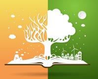 Ecologieconcept, document boom het groeien van een open boek vector illustratie