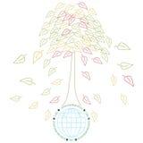 Ecologieconcept met Aarde en tres Royalty-vrije Stock Afbeeldingen