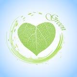Ecologieconcept met hart van groen blad Stock Afbeeldingen