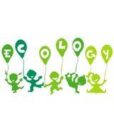 Ecologieconcept met jonge geitjes en ballons Royalty-vrije Stock Afbeeldingen