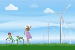 Ecologieconcept: Vrouwen met fiets en de Windturbine op het groene gebied, Vectorillustratie vector illustratie