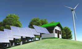 Ecologiehuis bovenop de heuvel Royalty-vrije Stock Afbeelding