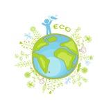Ecologieplaneet en mensen Royalty-vrije Stock Fotografie