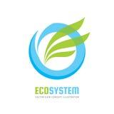 Ecologiesysteem - vector het conceptenillustratie van het embleemmalplaatje Blauwe waterring en groene bladeren Abstract aardteke stock illustratie