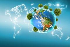 Ecologisch concept het milieu met de cultuur van bomen De achtergrond is volledig met sterren Fysieke bol van de aarde Royalty-vrije Stock Foto's