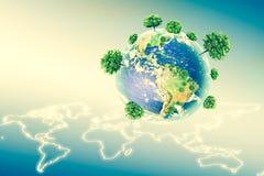Ecologisch concept het milieu met de cultuur van bomen De achtergrond is volledig met sterren Fysieke bol van de aarde Royalty-vrije Stock Afbeeldingen