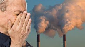 Ecologisch concept Het verontreinigen van een atmosfeer Stock Foto's