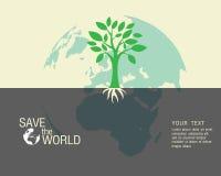 Ecologisch en bewaar de groene wereld Stock Foto's