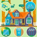 Ecologisch huis in de bos Schone Milieusymbolen De ZOMERlandschap Huis op de aard Vector illustratie Stock Afbeelding