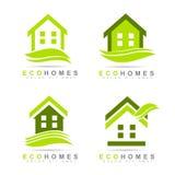 Ecologisch huizenembleem Stock Foto's