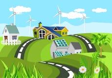 Ecologisch maken de schone huizen in groene heuvels groene invironment, platteland schoon, royalty-vrije illustratie