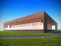 Ecologisch modern houten huis. Stock Afbeeldingen