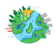 Ecologisch schone stad, milieubescherming, zorgvuldige houding tegenover natuurlijke rijkdommen royalty-vrije illustratie