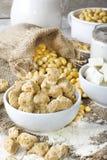 Ecologisch texturized sojavlees met sojabonen en tofu op plattelander Royalty-vrije Stock Foto