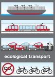 Ecologisch vervoer - schip, elektrische trein, elektrische auto's en B Stock Foto's