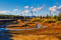 ecologische crisisfoto Draagstoel, vuile lucht, het ecologische probleem van de de industrieoorzaak royalty-vrije stock fotografie