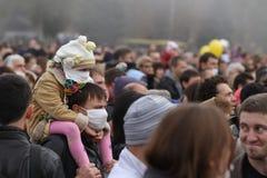 Ecologische demonstratie in Mariupol, de Oekraïne stock afbeeldingen