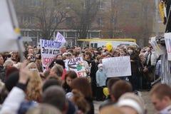 Ecologische demonstratie in Mariupol, de Oekraïne royalty-vrije stock afbeelding